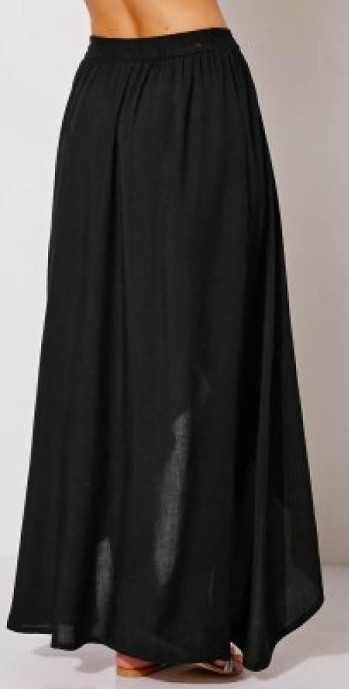 Černá letní průsvitná maxi sukně