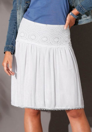 Bílá voálová sukně s krajkovým pasem
