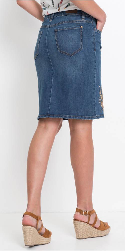 Dámská riflová sukně ke kolenům
