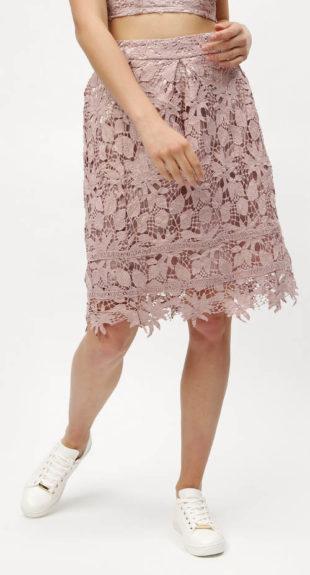Celokrajková růžová sukně MISSGUIDED