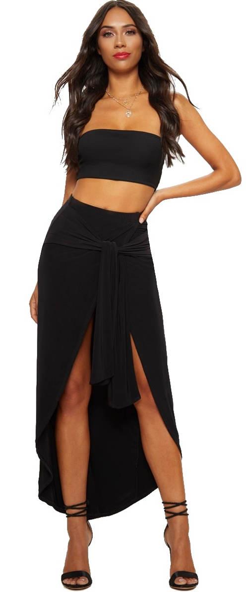 Černá maxi sukně s vysokým rozparkem a úvazkem