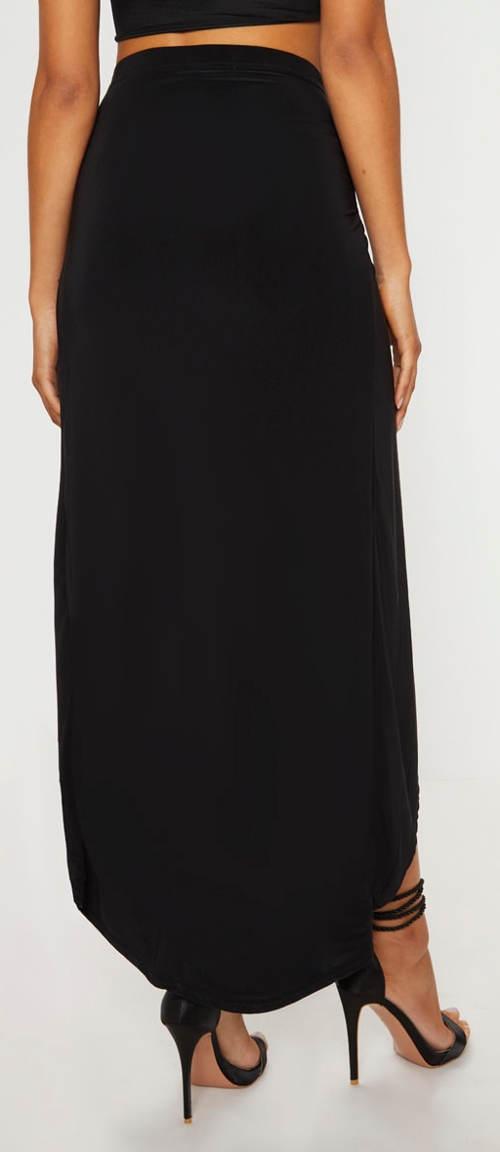 Černá maxi sukně s vysokým rozparkem a úvazkem 107d95a001