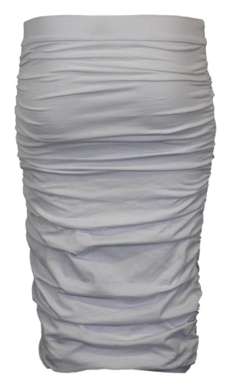Bílá úplá sukně mačkaného vzhledu