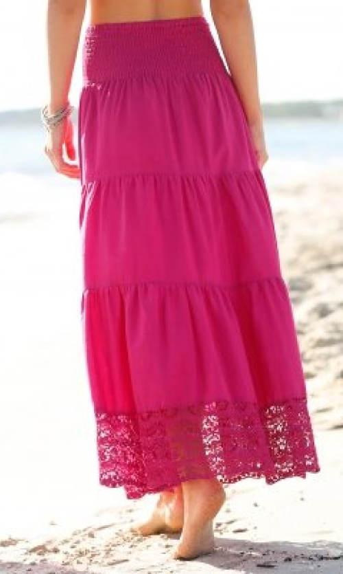 Dlouhá růžová volánková sukně