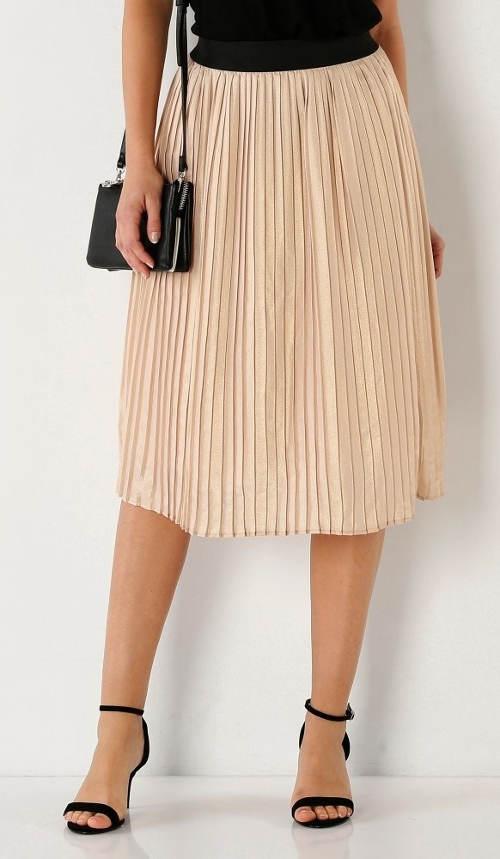Růžová plisovaná sukně s pružným pasem
