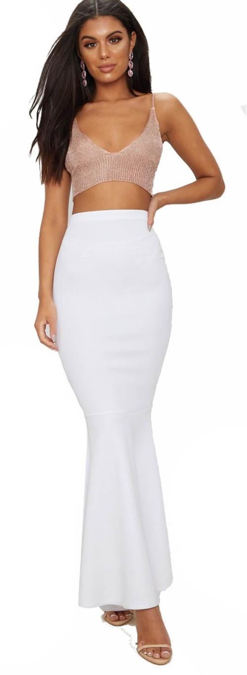 Bílá úplá maxi sukně s vysokým pasem