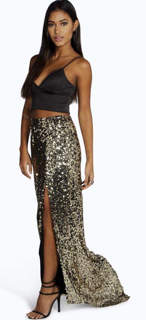 Dlouhá zlatá plesová sukně