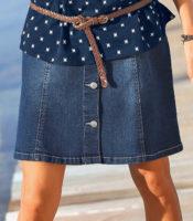 Džínová rozšířená sukně na knoflíky