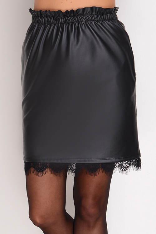 Kožená sukně s gumou do pasu