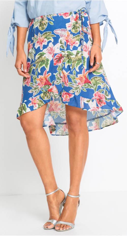 Modrá letní sukně s květy