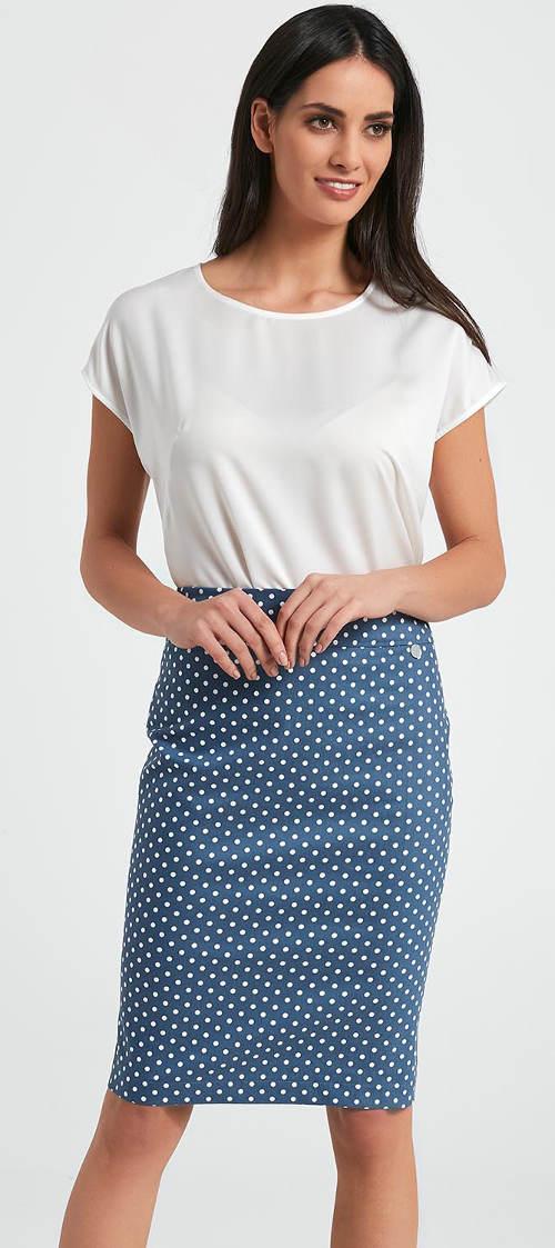 Modrá puntíkovaná retro sukně