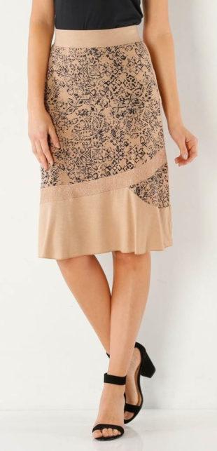 Pohodlná béžová sukně s potiskem