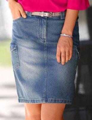 Riflová sukně i pro plnoštíhlé