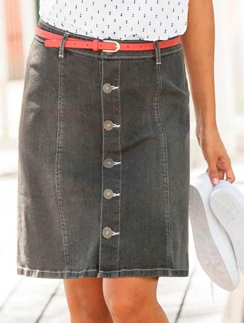 Šedá riflová sukně s páskem