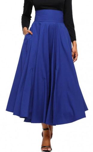 Široká modrá společenská sukně