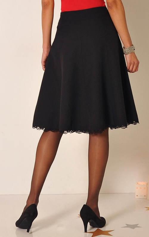 Společenská sukně ke kolenům s krajkovým lemem