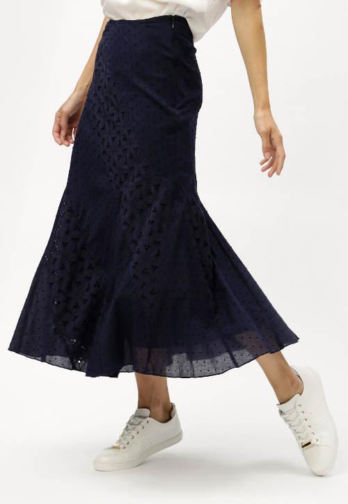 Tmavě modrá maxi sukně s krajkou