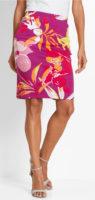 Úpletová letní sukně s pestrobarevným květovaným potiskem