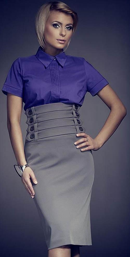 Vysoká dámská sukně s knoflíky v pase