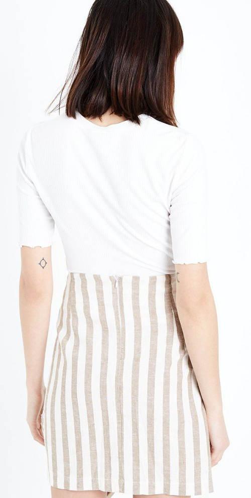 Bežovo-bílá pruhovaná sukně