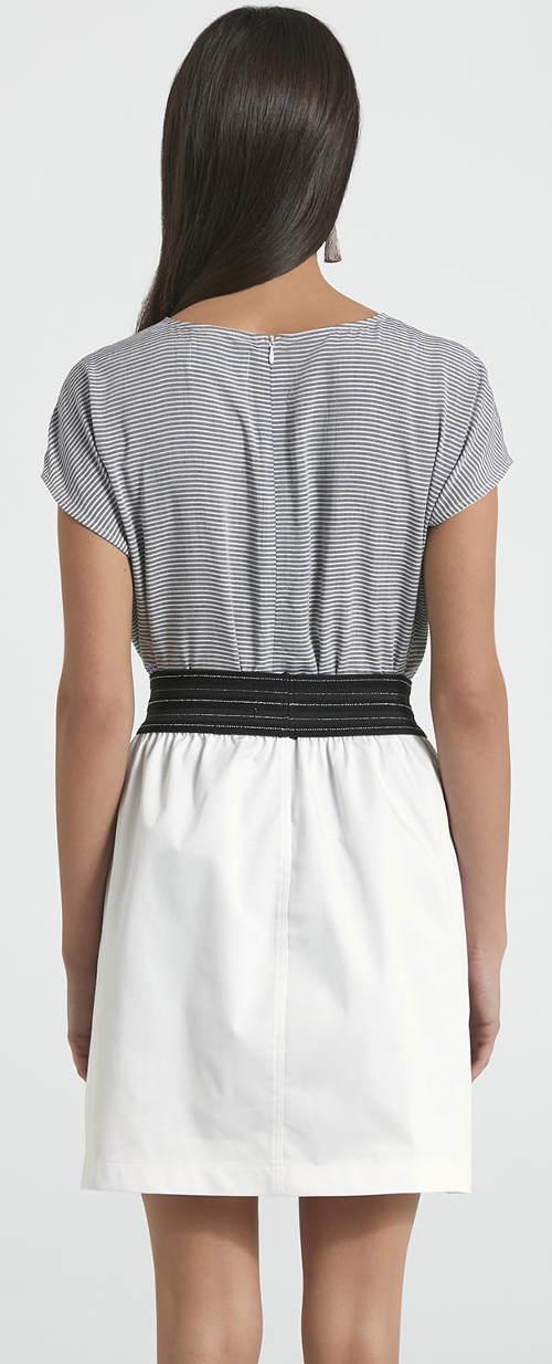 Bílá letní sukně s černým pasem