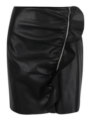 Černá koženková sukně s volánem