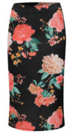 Černá květovaná pouzdrová sukně