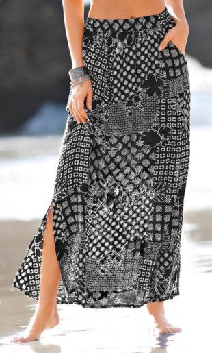 Dlouhá černobílá sukně s patchwork vzorem