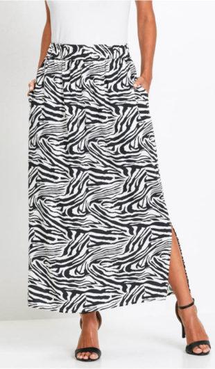 Dlouhá černobílá zebrovaná sukně