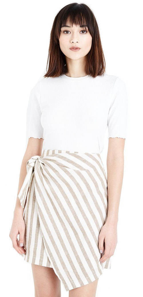 Pruhovaná zavinovací mini sukně