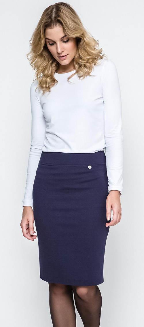 Tmavě modrá společenská pouzdrová sukně