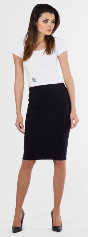 Černá bavlněná sukně ke kolenům