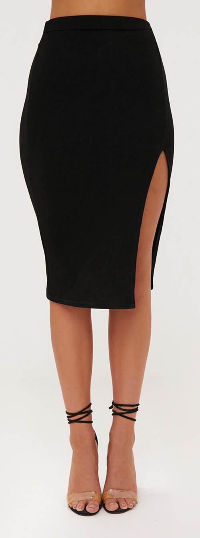 Černá společenská sukně ke kolenům