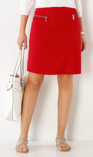 Červená dámská sukně se zipy