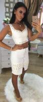 Dámský bílý sukňový komplet NI s krystaly