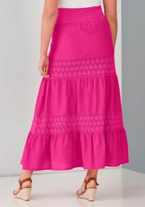 Dlouhá růžová krajková sukně