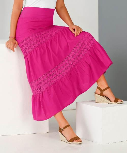 Fialová krajková maxi sukně