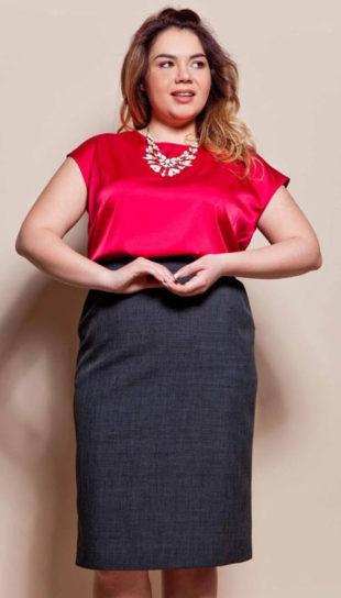 Jednoduchá sukně pro plnoštíhlé