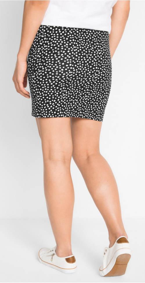 Krátká černobílá puntíkovaná sukně