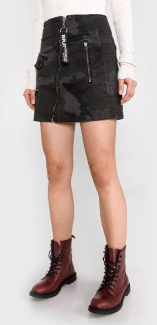Krátká maskáčová džínová sukně Replay