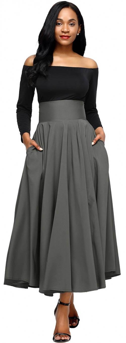 Maxi sukně s vysokým pasem