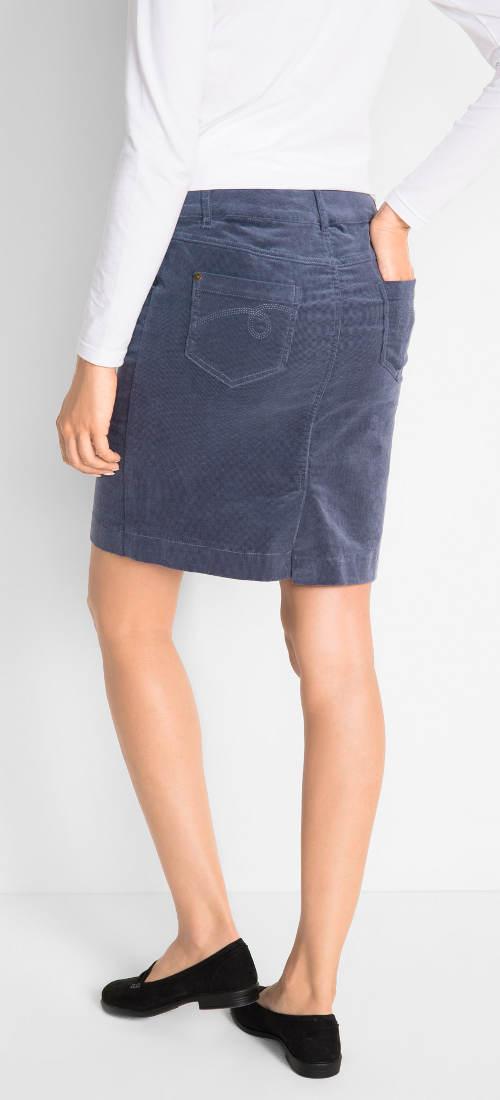 Modrá manšestrová sukně