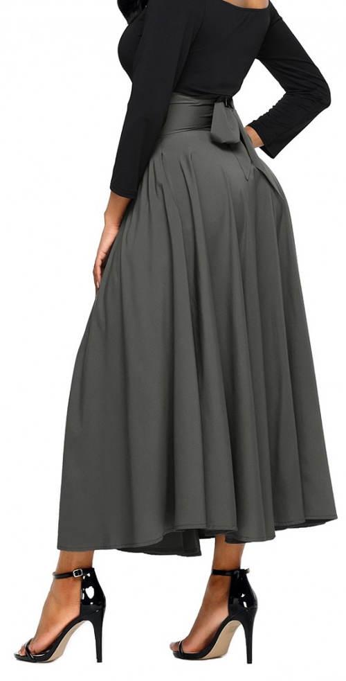 Šedá maxi sukně s vázačkou kolem pasu