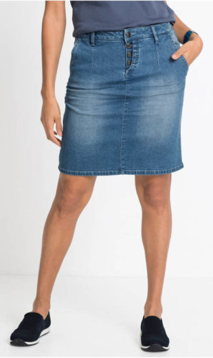 Šisovaná strečová riflová sukně