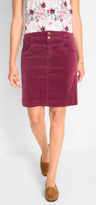 Strečová manšestrová sukně