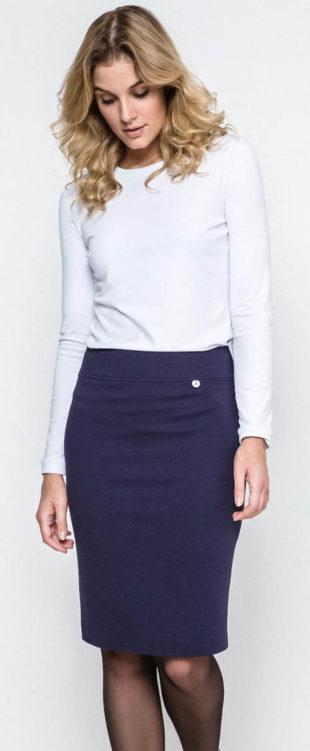 Stylová pouzdrová sukně v tmavě modré barvě