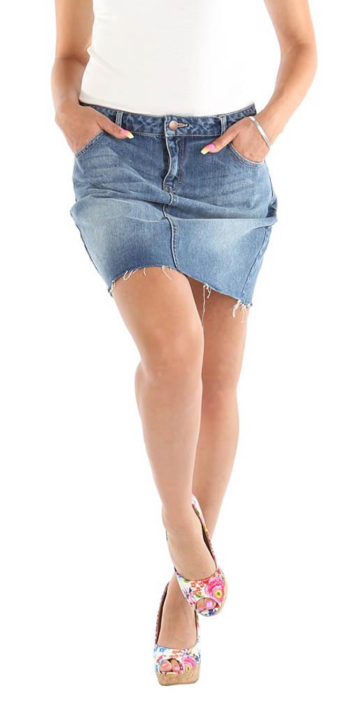 Světle modrá krátká džínová sukně