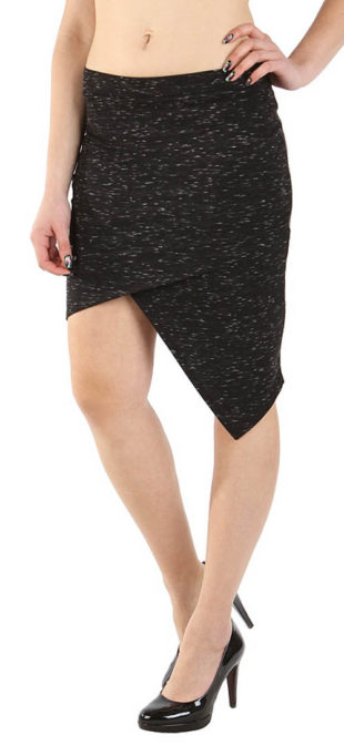 Výprodejová asymetrická sukně s melírem