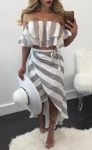 Zavinovací pruhovaná dámská sukně s topem