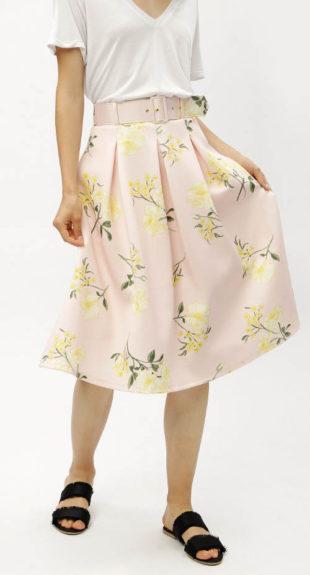 Áčková světle růžová sukně s květinovým potiskem